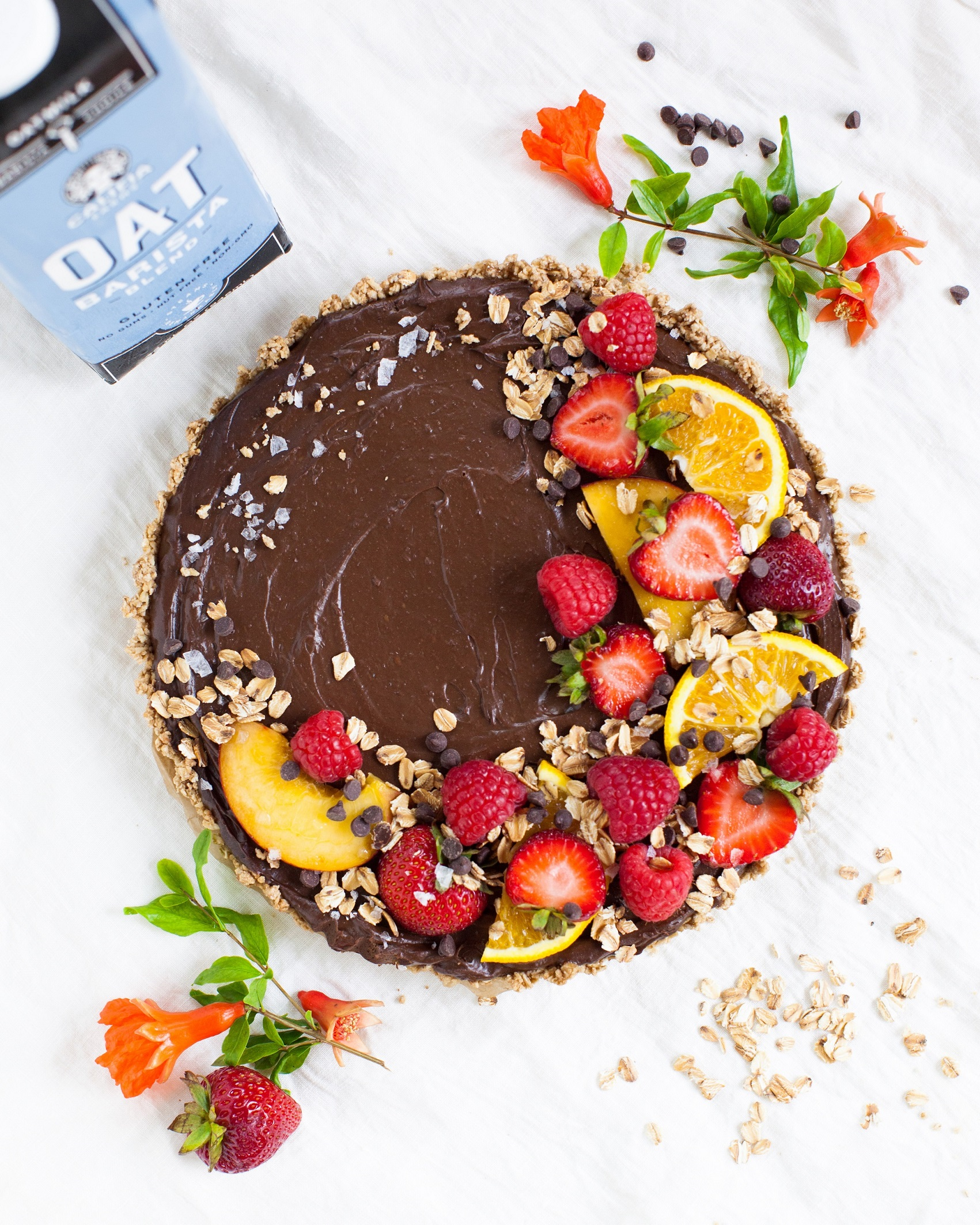 Plant-Based Oat Milk Chocolate Mousse Tart - perfetc for World Chocolate Day