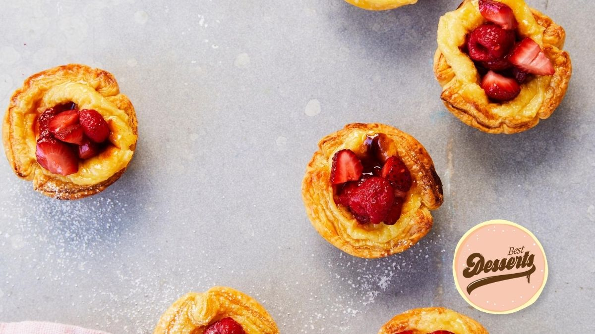 Portuguese Tarts with Roasted Berries