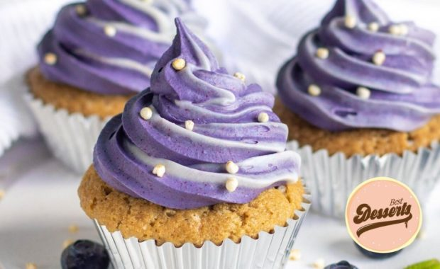 Vegan Cupcakes with Natural Purple Frosting